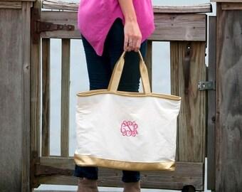 Creme Cabana Monogram Tote, Large Personalized Canvas Bag