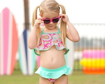 Lizzie Girl's Swim Set, Monogram Swim Set for Girls