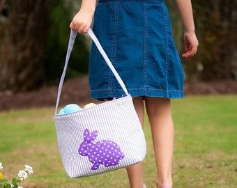 Purple Cottontail Seersucker Easter Bucket