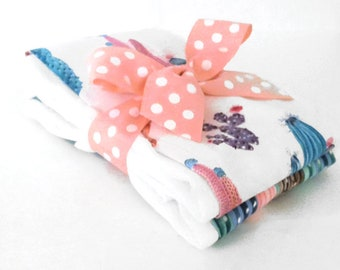 Prickly Pink Cactus Burp Cloths - Baby Shower Gift