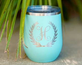 Monogram Wreath Wine Tumbler
