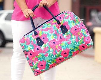 Grace Travel Bag, Large Personalized Weekender Bag