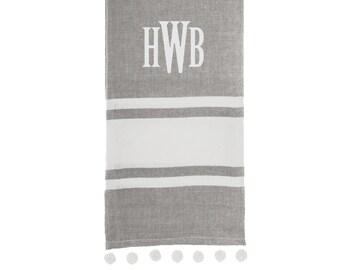 Pom Pom Grey Striped Dish Towel with Embroidery Personalization