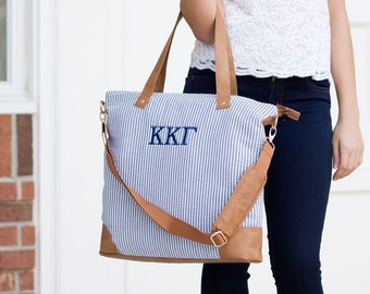 Navy Seersucker Monogrammed Shoulder Bag, Personalized Bag