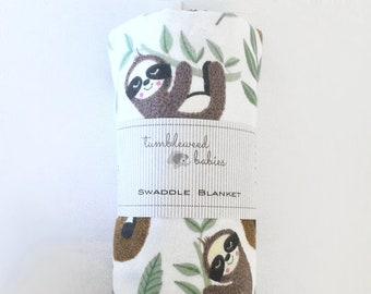 Sleepy Sloths Flannel Baby Receiving Blanket/Swaddle Blanket