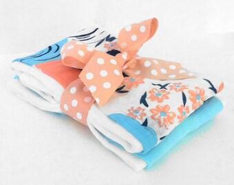 Garden Blooms Muslin Gauze Burp Cloths - Baby Shower Gift
