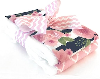 Watercolor Rose Stripe Burp Cloth Set