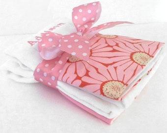 Pink Daisies Organic Burp Cloth Set