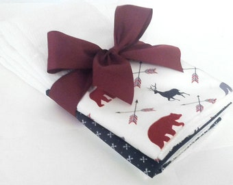 In the Woods Personalized Burp Cloth Set