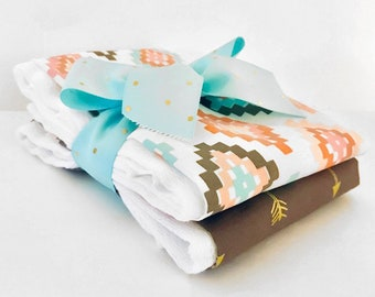 Pastel Diamonds and Arrows Burp Cloth Set