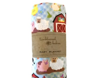 Barnyard Friends Baby Receiving Blanket /Swaddle Blanket/Newborn Flannel Blanket