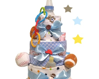 Sports Diaper Cake - Baby Shower Centerpiece and Gift