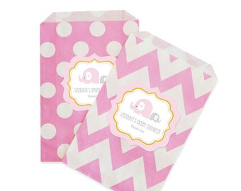 Pink Elephant Chevron & Dots Personalized Goodie Bags (set of 12)