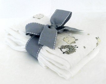 Lambkin Muslin Gauze Burp Cloths - Baby Shower Gift