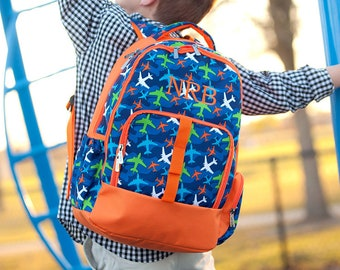 Take Flight Boys Monogrammed Backpack, Monogram Book Bag, Back to School