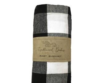 Black White Buffalo Plaid Baby Receiving Blanket /Swaddle Blanket/Newborn Flannel Blanket