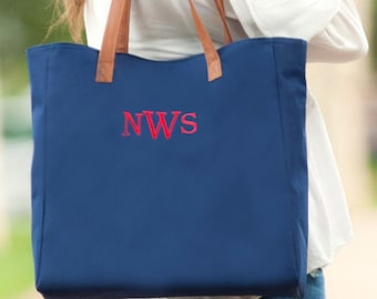 Navy Monogrammed Tote Bag, Personalized Bag