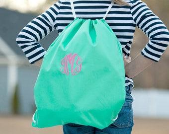 Mint Monogrammed Gym Bag, Monogram Backpack, Back to School