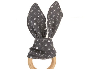 In the Woods Tiny Arrows Bunny Ears Wooden Teething Ring