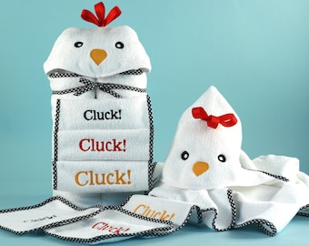 My Little Chickie Hooded Towel Baby Gift Set - Optional Personalization