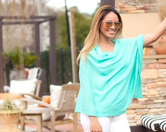 Mint Chelsea Poncho with Optional Monogram