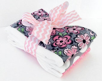 Preppy Pink  & Grey Floral Burp Cloths - Set of Three Burp Cloths