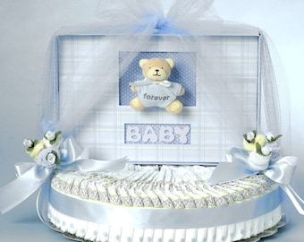 Blue Bear Baby Book Diaper Cake Gift