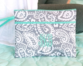 Parker Paisley Monogrammed  Zip Pouch Wristlet (with waterproof lining)