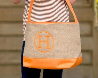 Orange Burlap Halloween Bucket, Monogrammed Bucket, Personalized Bag