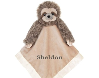 Adorable Sloth Personalized Lovie Blanket for Baby