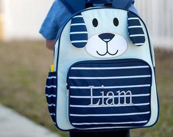 Navy Puppy Preschool Monogrammed Backpack, Back to School