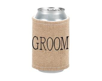 Groom Burlap Drink Wrap
