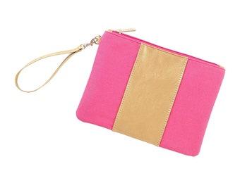 Hot Pink and Gold Cabana Wristlet - Monogram