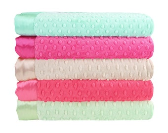 Minky Dot Baby Blankets - Mint Raspberry Collection