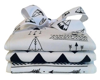Be Brave - Arrows and Teepee Burp Cloths in Black and White