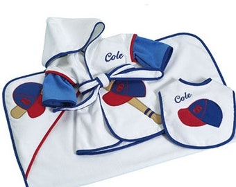 Little Slugger 3-Piece Bath And Bib Baby Gift Set - Optional Personalization