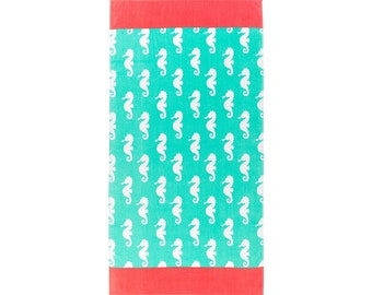 Mint Seahorse Beach Towel, Optional Embroidery Personalization