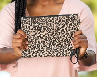 Leopard Monogrammed Everly Wristlet, Personalized Clutch