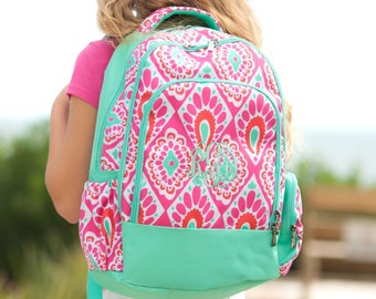 Beachy Keen Girls Monogrammed Backpack, Monogram Book Bag, Back to School