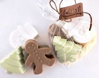 Christmas Soap Gift Set - Snowman, Gingerbread Man and Christmas Tree