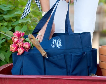Navy Monogram Carry All Bag, Large Personalized Organizer Bag