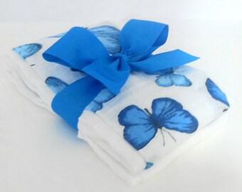 Blue Butterflies Muslin Gauze Burp Cloths - Baby Shower Gift