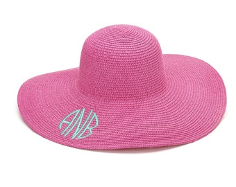 Hot Pink Floppy Hat with Monogram for Women