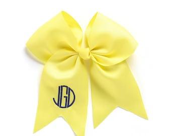 Yellow Monogram Jumbo Hair Bow, Personalized Girl's Bows