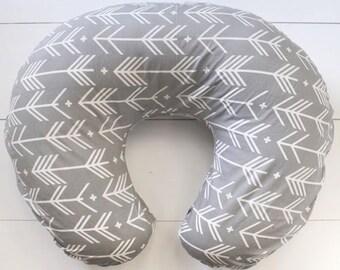 Grey Arrows Nursing Pillow Cover