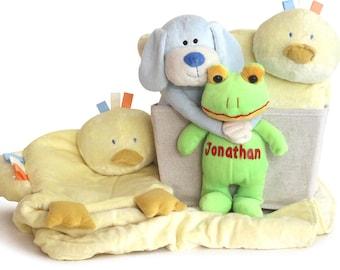 Super Plush Personalized Baby Boy Gift Basket