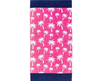 Hot Pink Palm Beach Towel, Optional Embroidery Personalization