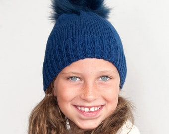 Navy Bella Kids Pom Pom Hat with Monogram