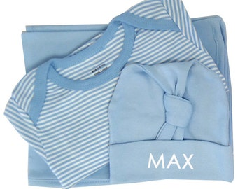 Personalized Blue Baby Layette with  Blanket, Gown and Knot Hat