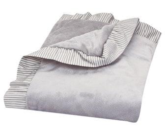Dove Grey Ruffled Blanket